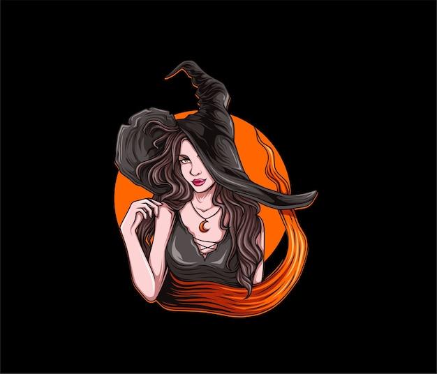 Ilustração de bruxa bonita