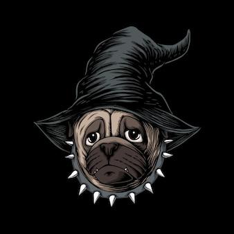 Ilustração de bruxa com chapéu de cachorro pug de halloween