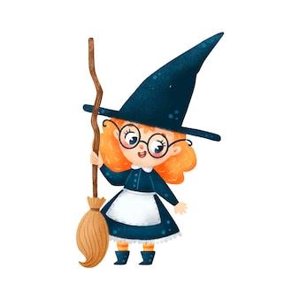 Ilustração de bruxa fofa de halloween com cabo de vassoura isolada no fundo branco