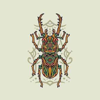Ilustração de bug de mandala de luxo