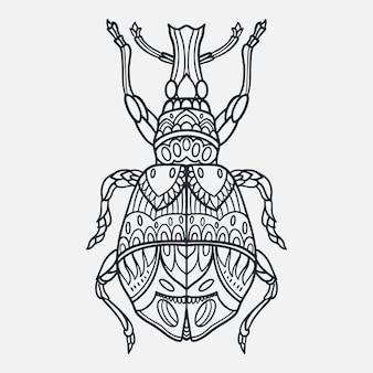 Ilustração de bug desenhada à mão com estilo doodle