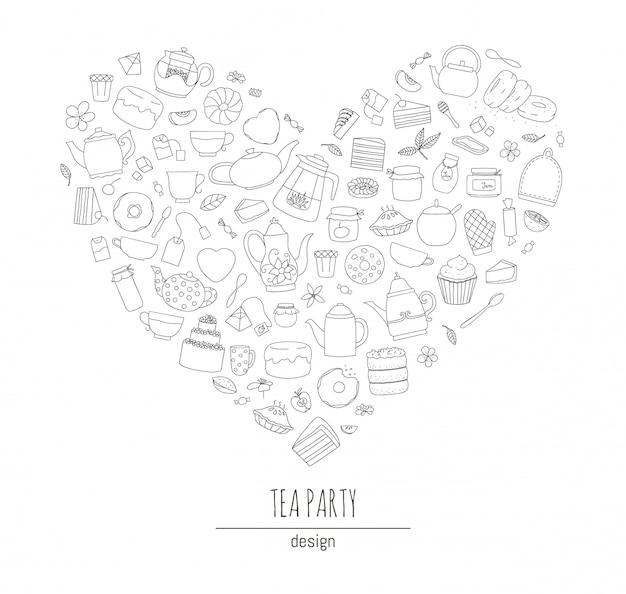 Ilustração de bules preto e brancos, tortas, doces, bolos emoldurados em forma de coração. jogo de chá de arte de linha. conceito temático de chá. quadro com chaleiras e equipamentos de cozinha