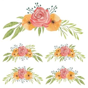 Ilustração de buquê de flores em aquarela pintada à mão