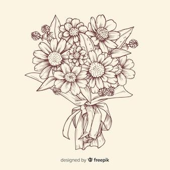 Ilustração de buquê de flores vintage
