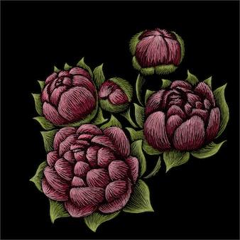 Ilustração de buquê de peônias de flores