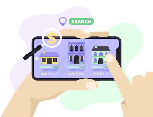 Ilustração de busca de imóveis