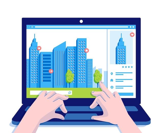 Ilustração de busca imobiliária