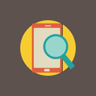 Ilustração, de, busca, ligado, móvel, ícone