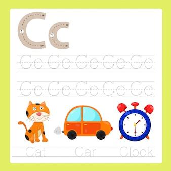 Ilustração de c exercício vocabulário de desenhos animados az