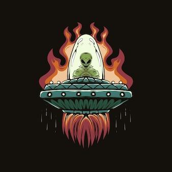 Ilustração de cabeça alienígena e ovni com fogo para desenho e impressão de camisetas