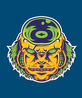 Ilustração de cabeça alienígena
