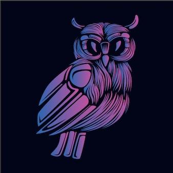 Ilustração de cabeça coruja roxa