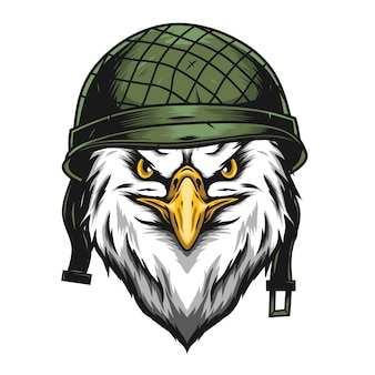 Ilustração de cabeça de águia com capacete militar