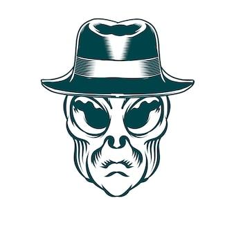 Ilustração de cabeça de alienígena com chapéu vintage para elemento de vetor de design de logo distintivo