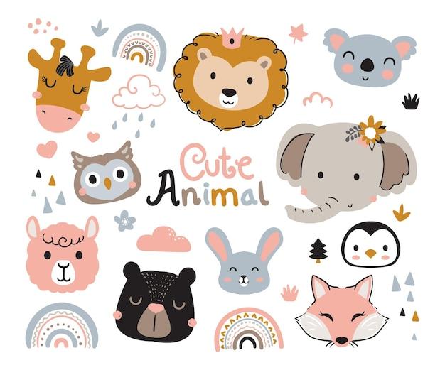 Ilustração de cabeça de animais fofos