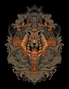Ilustração de cabeça de anúbis com gravura ornamento