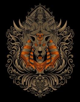 Ilustração de cabeça de anúbis com ornamento de gravura vintage