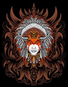 Ilustração de cabeça de apache indiano com gravura de ornamento