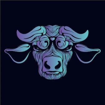 Ilustração de cabeça de boi azul