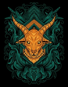 Ilustração de cabeça de cabra com gravura de ornamento