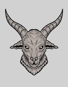 Ilustração de cabeça de cabra em fundo branco