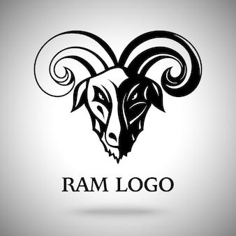 Ilustração de cabeça de cabra escura com chifres