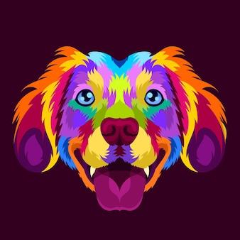 Ilustração de cabeça de cachorro colorida com estilo pop art