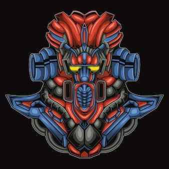 Ilustração de cabeça de cachorro de robô militar