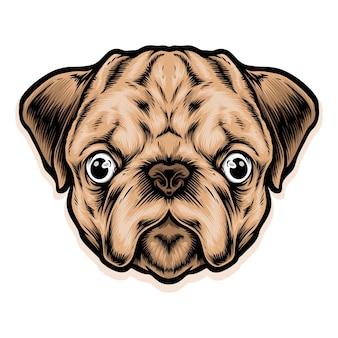Ilustração de cabeça de cachorro fofo