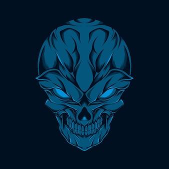 Ilustração de cabeça de caveira sorridente azul