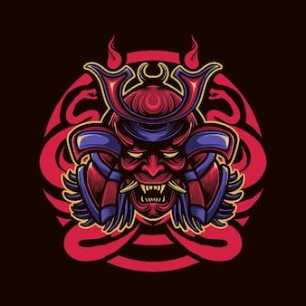 Ilustração de cabeça de cobra samurai