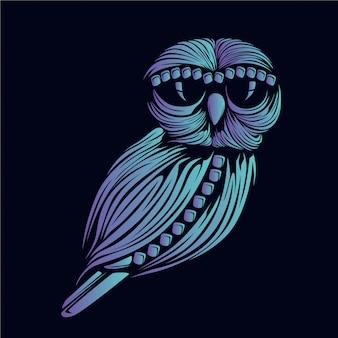 Ilustração de cabeça de coruja azul