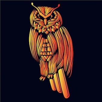 Ilustração de cabeça de coruja dourada