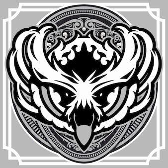 Ilustração de cabeça de coruja em ornamento vintage