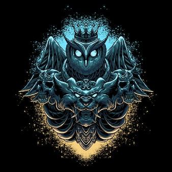 Ilustração de cabeça de coruja & leão