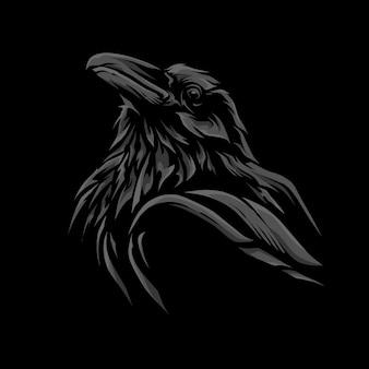 Ilustração de cabeça de corvo escuro simples Vetor Premium