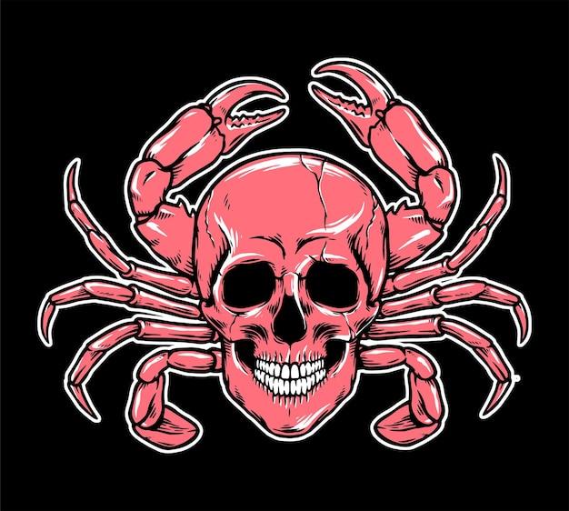 Ilustração de cabeça de crânio de caranguejo assustador