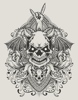 Ilustração de cabeça de crânio de demônio com ornamento de gravura antiga Vetor Premium