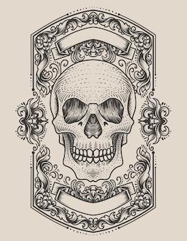 Ilustração de cabeça de crânio de demônio com ornamento de gravura antiga