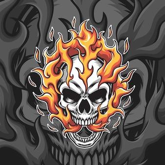 Ilustração de cabeça de crânio de fogo