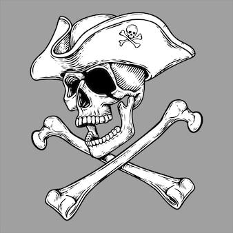 Ilustração de cabeça de crânio de pirata e espadas cruzadas