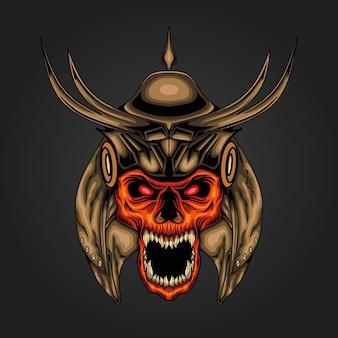 Ilustração de cabeça de crânio de samurai