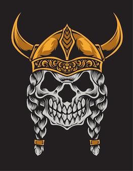 Ilustração de cabeça de crânio de viking na superfície preta