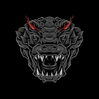 Ilustração de cabeça de crocodilo