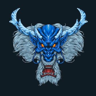 Ilustração de cabeça de dragão azul