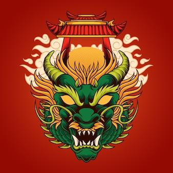 Ilustração de cabeça de dragão chinês