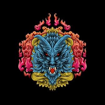 Ilustração de cabeça de dragão gravura estilo vector
