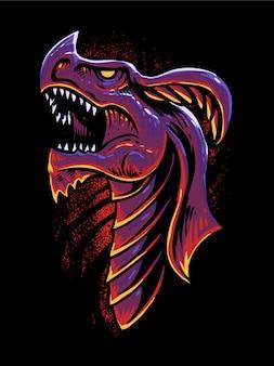 Ilustração de cabeça de dragão vermelho