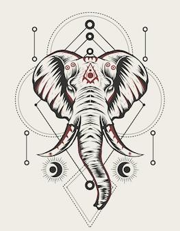 Ilustração de cabeça de elefante com geometria sagrada