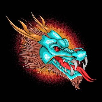 Ilustração de cabeça de fantasia de dragão